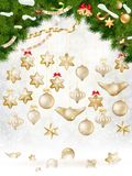 Christmas balls hanging on fir tree. EPS 10. Vector file included royalty free illustration