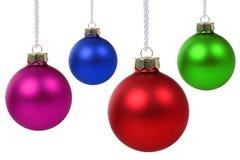 Christmas balls hanging isolated Stock Photos