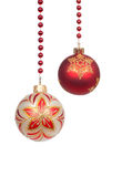 Christmas balls hanging isolated on white Royalty Free Stock Photo