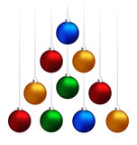 Christmas balls hanging like fir tree Royalty Free Stock Photography