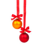 Christmas balls hanging with ribbon Royalty Free Stock Image