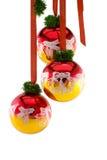 Christmas balls hanging on ribbon Stock Photos