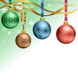 Christmas balls hanging on ribbons Stock Images