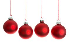 Christmas balls hanging at a rope over white Stock Photo