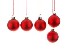 Christmas balls hanging at a rope over white Stock Photography