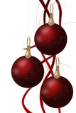 Christmas balls hanging with tapes isolated on white background. Stock Photography