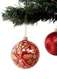 Christmas balls hanging on tree branch Royalty Free Stock Photos