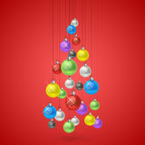 Christmas balls hanging in a tree Stock Photo