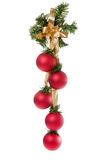 Christmas balls hanging on white background Stock Photos