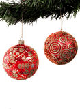 Christmas balls hanging from a xmas tree Stock Photography