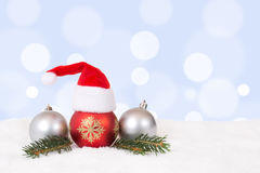 Christmas balls hat decoration with copyspace Royalty Free Stock Images