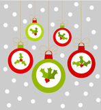 Christmas balls with holly berry Royalty Free Stock Image