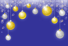 Christmas balls horizontal holyday background. Christmas vector horizontal background with golden and silver Christmas balls, bokeh effect baubles and copy space stock illustration