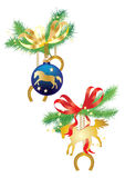Christmas balls and horses. On fir branches Royalty Free Stock Photography