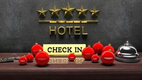 Christmas Balls, Hotel Bell With Check In Stock Photos