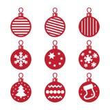 Christmas balls. Icons nine red Christmas balls Royalty Free Illustration