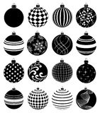 Christmas balls icons set. In black Stock Images