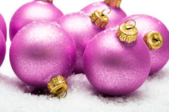 Christmas Balls In Snow Royalty Free Stock Photos