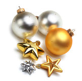 Christmas balls isolated. Christmas balls and stars isolated Royalty Free Stock Image