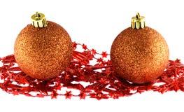 Christmas balls isolated on white background. Two christmas balls isolated on white background Royalty Free Stock Photography