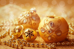 Christmas balls with jingle bells Stock Photo