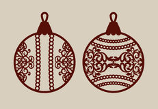 Christmas balls with lace pattern. Template for greeting card, banner, invitation, for New Years design party or interiors. Picture perfect for laser cutting Royalty Free Stock Photo