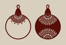 Christmas balls with lace pattern. Template for greeting card, banner, invitation, for New Years design party or interiors. Picture perfect for laser cutting Stock Images