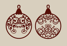 Christmas balls with lace pattern. Template for greeting card, banner, invitation, for New Years design party or interiors. Picture perfect for laser cutting Royalty Free Stock Images