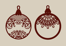 Christmas balls with lace pattern. Template for greeting card, banner, invitation, for New Years design party or interiors. Picture perfect for laser cutting Royalty Free Stock Image