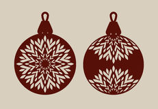 Christmas balls with lace pattern. Template for greeting card, banner, invitation, for New Years design party or interiors. Picture perfect for laser cutting Royalty Free Stock Photos