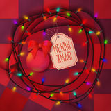 Christmas balls, lamp festive garland for holiday xmas and greeting card design. On the red background with christmas patterns Stock Photos