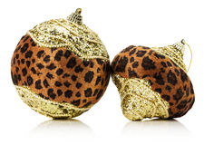 Christmas balls with leopard print Royalty Free Stock Photo