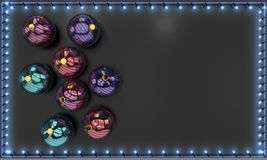 Christmas balls and lighted frame, 3d rendering Royalty Free Stock Image