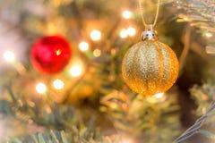 Christmas balls and lights Stock Photography