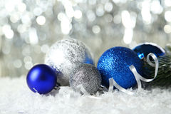 Christmas balls on lights background, close up Stock Image
