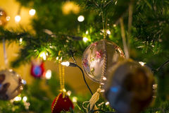 Christmas balls and lights Stock Photography