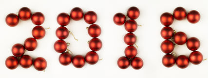 Christmas balls like 2016 year. Isolated on white Royalty Free Stock Photos