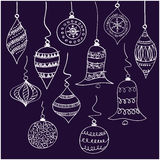 Christmas balls. Little Christmas balls with white hand-drawn line Stock Images