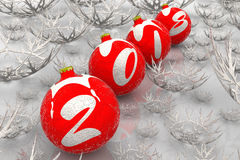 Christmas balls 2018. Christmas balls lying on white surface among the snowflakes and form the inscription 2018. New Year background 2018. 3D Illustration Royalty Free Stock Image