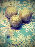 Christmas balls made from newspaper royalty free stock photography