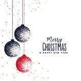 Christmas balls made with stipple on white background. Vector Stock Image