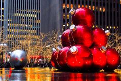 Christmas Balls in Manhattan, NYC Royalty Free Stock Image