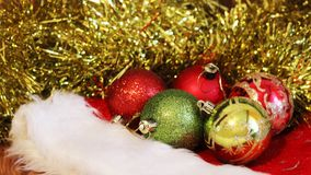 Christmas balls. Merry christmas card. Winter xmas theme. Stock Photo