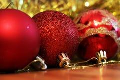 Christmas balls. Merry christmas card. Winter xmas theme. Stock Photos