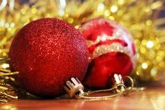 Christmas balls. Merry christmas card. Winter xmas theme. Royalty Free Stock Photo