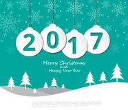 2017 Christmas balls on Merry Christmas and Happy New Year. Background,Illustration eps10 Stock Photos