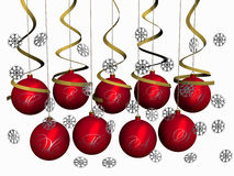 Christmas-balls Merry Christmas with snowflakes. Red glass-balls with inscription Merry Christmas hang with ribbons. Snowflakes fall. 3 dimensional model Royalty Free Illustration