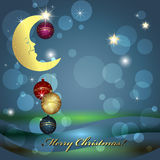 Christmas balls and moon Royalty Free Stock Image