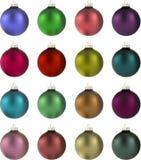 16 Christmas balls. 16 multi coloured ball bearings vector illustration