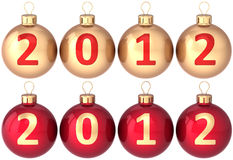 Christmas balls New 2012 Year baubles set. Christmas balls New 2012 Year eve bauble decorated with calendar date. Set of beautiful classic Xmas decoration Royalty Free Stock Photo